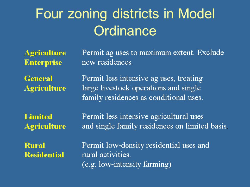 Four zoning districts in Model Ordinance