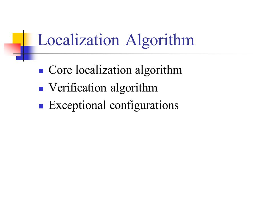 Localization Algorithm Core localization algorithm Verification algorithm Exceptional configurations