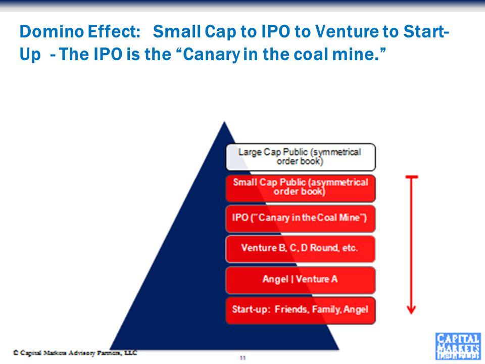 © Capital Markets Advisory Partners, LLC Domino Effect: Small Cap to IPO to Venture to Start- Up - The IPO is the Canary in the coal mine.