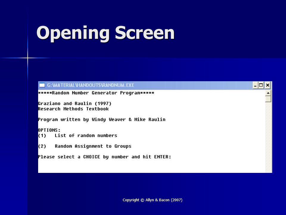 Copyright © Allyn & Bacon (2007) Opening Screen