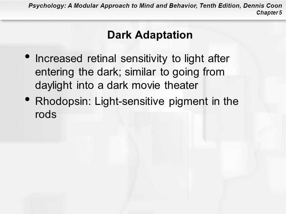 Psychology: A Modular Approach to Mind and Behavior, Tenth Edition, Dennis Coon Chapter 5 Dark Adaptation Increased retinal sensitivity to light after entering the dark; similar to going from daylight into a dark movie theater Rhodopsin: Light-sensitive pigment in the rods