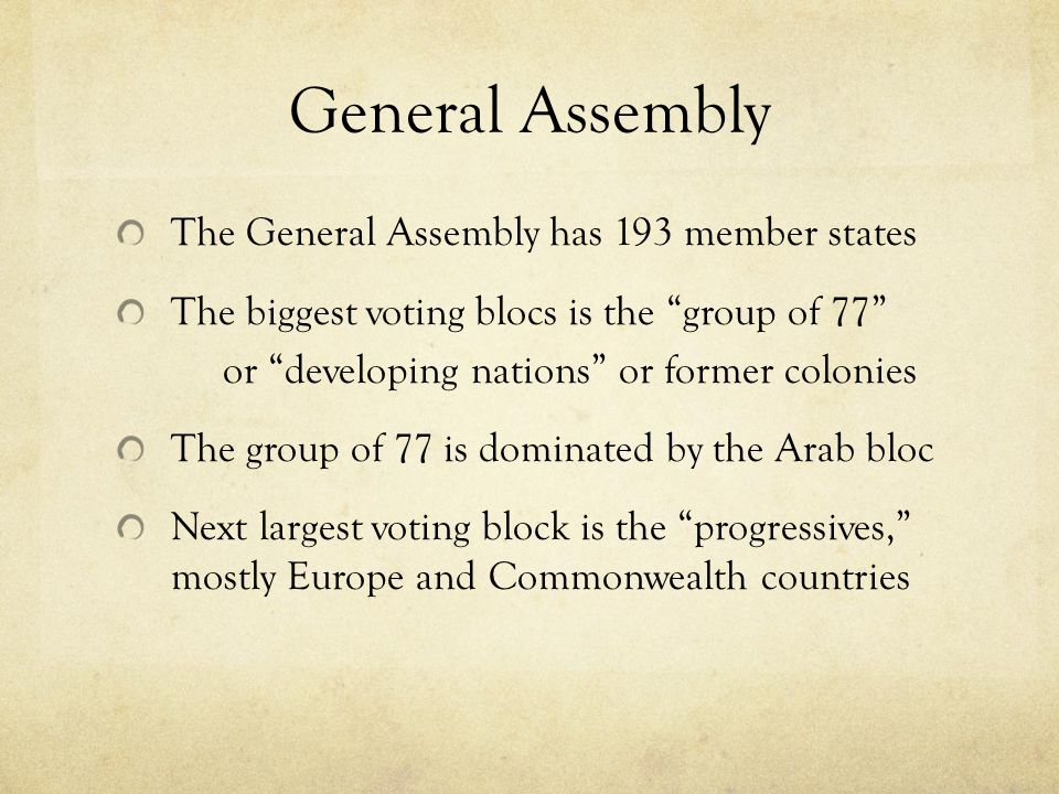 General Assembly The General Assembly has 193 member states The biggest voting blocs is the group of 77 or developing nations or former colonies The group of 77 is dominated by the Arab bloc Next largest voting block is the progressives, mostly Europe and Commonwealth countries
