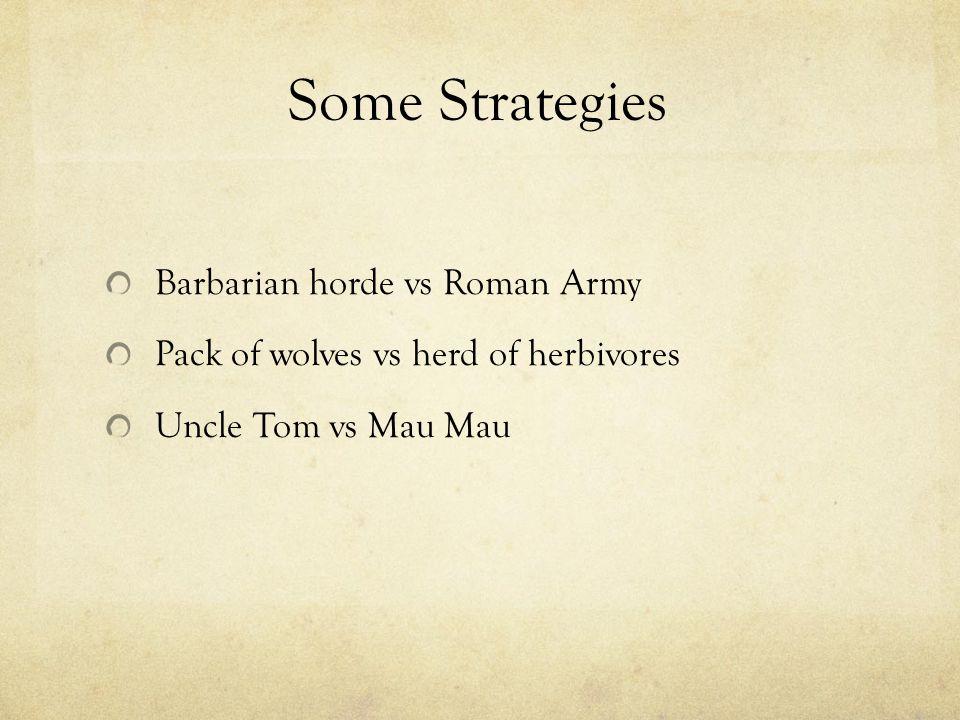 Some Strategies Barbarian horde vs Roman Army Pack of wolves vs herd of herbivores Uncle Tom vs Mau Mau