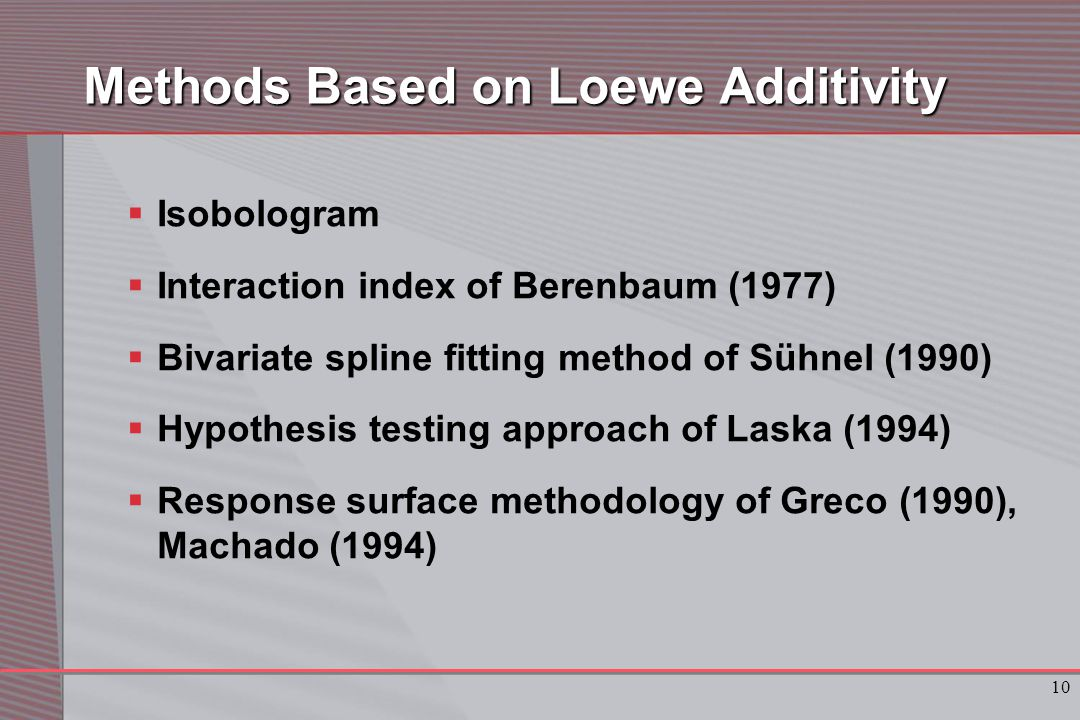 10 Methods Based on Loewe Additivity  Isobologram  Interaction index of Berenbaum (1977)  Bivariate spline fitting method of Sühnel (1990)  Hypothesis testing approach of Laska (1994)  Response surface methodology of Greco (1990), Machado (1994)