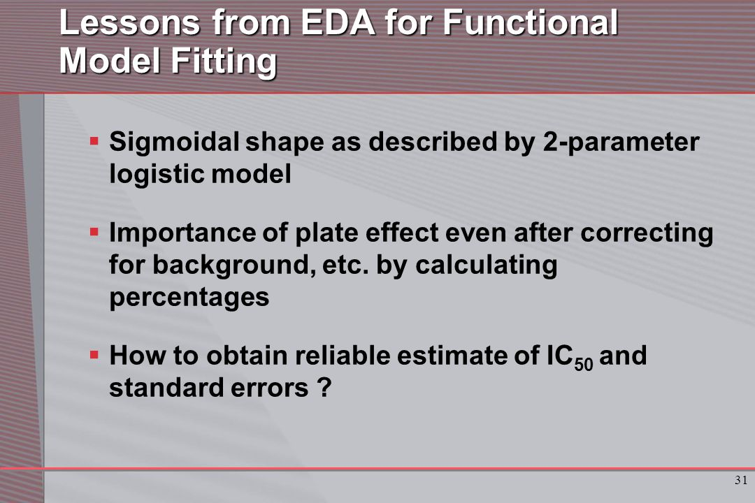 31 Lessons from EDA for Functional Model Fitting  Sigmoidal shape as described by 2-parameter logistic model  Importance of plate effect even after correcting for background, etc.