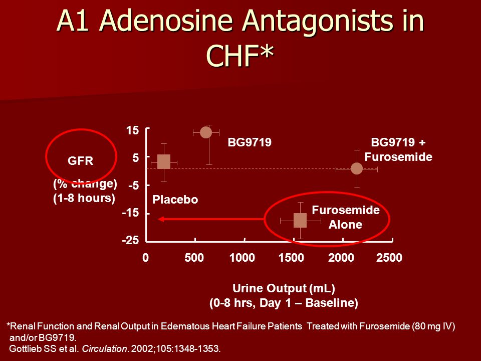 A1 Adenosine Antagonists in CHF* *Renal Function and Renal Output in Edematous Heart Failure Patients Treated with Furosemide (80 mg IV) and/or BG9719.
