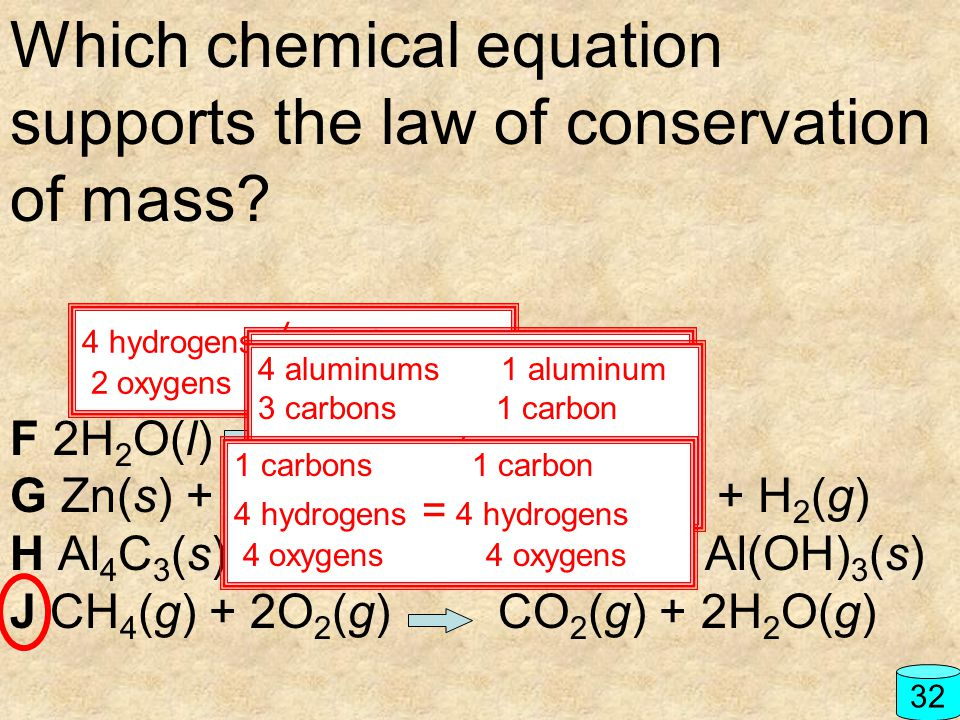 Which chemical equation supports the law of conservation of mass? F 2H 2 O(l) H 2 (g) + O 2 (g) G Zn(s) + HCl(aq) ZnCl 2 (aq) + H 2 (g) H Al 4 C 3 (s)