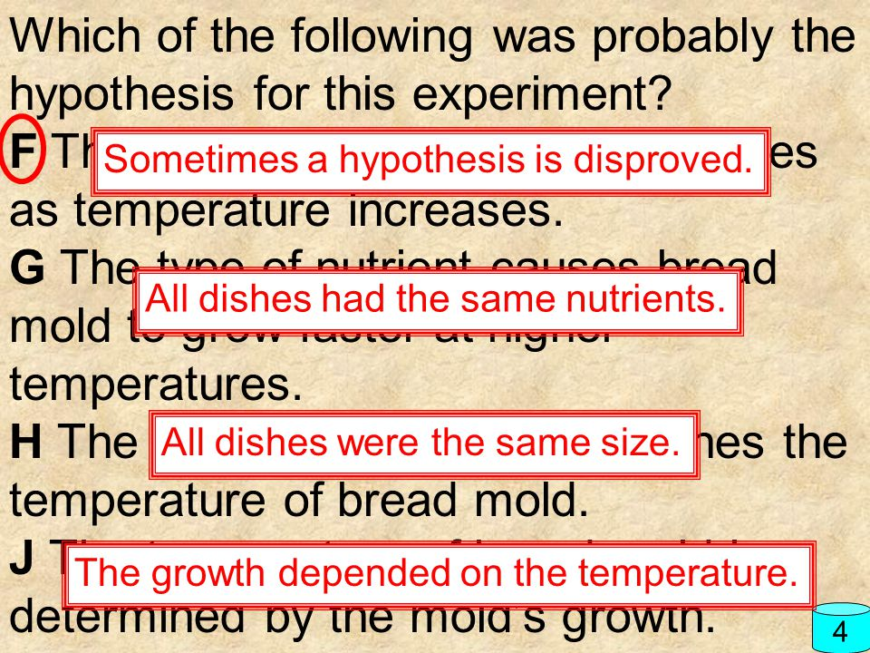 Which of the following was probably the hypothesis for this experiment? F The growth of bread mold increases as temperature increases. G The type of n
