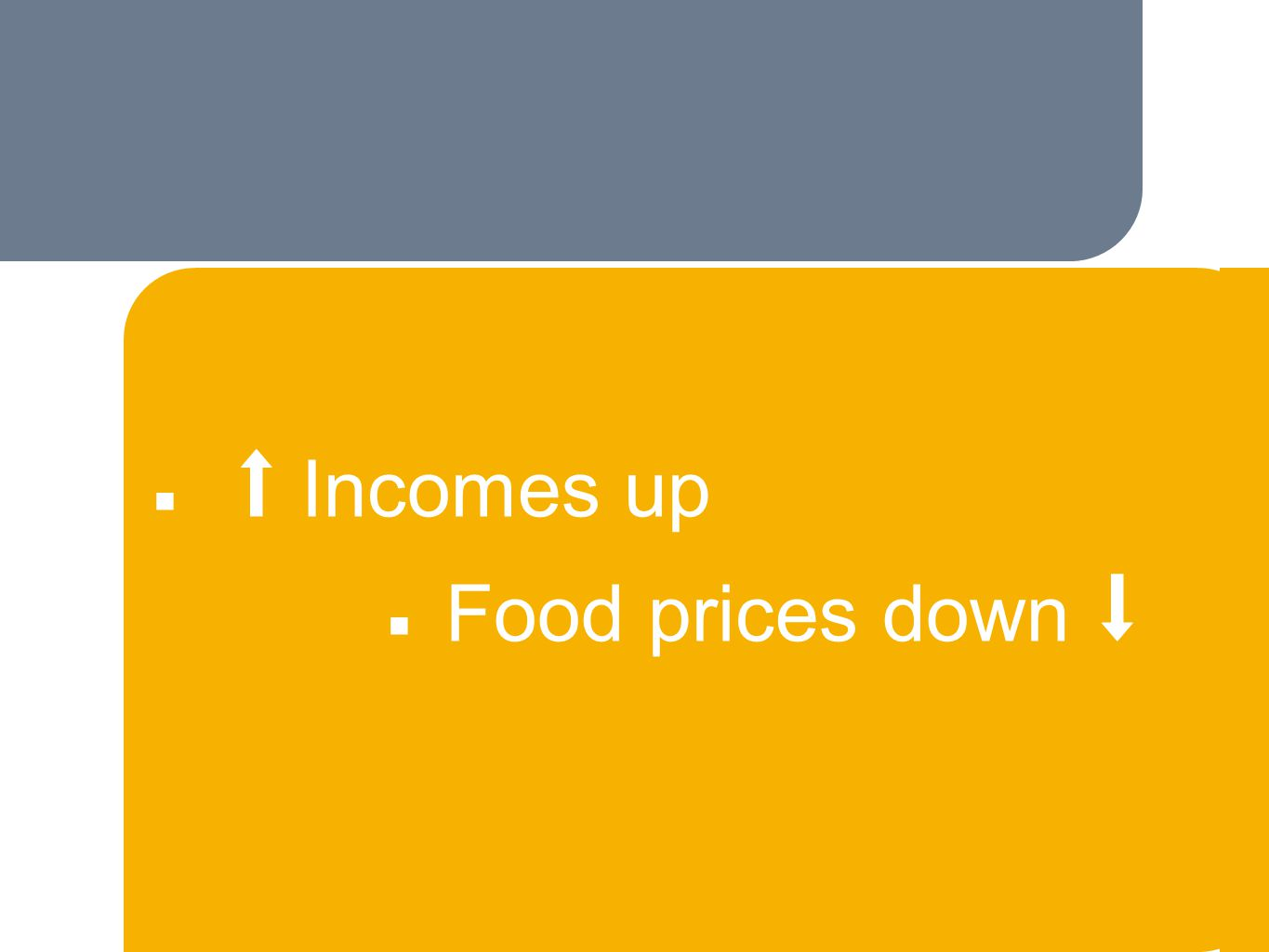 ■ Incomes up ■ Food prices down