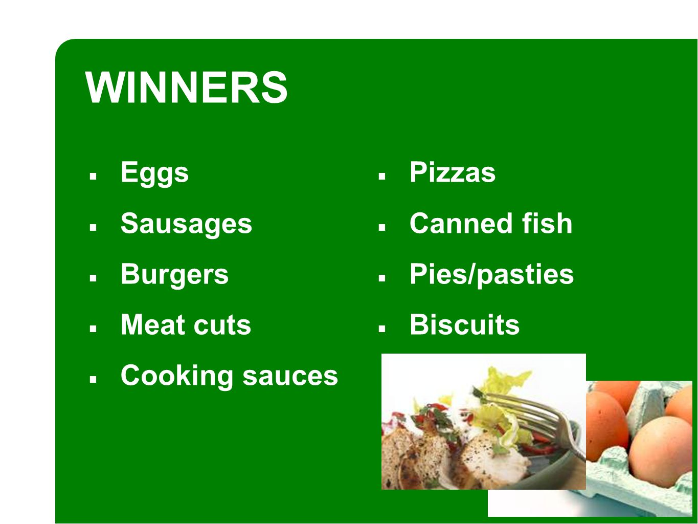 ■ Eggs ■ Sausages ■ Burgers ■ Meat cuts ■ Cooking sauces WINNERS ■ Pizzas ■ Canned fish ■ Pies/pasties ■ Biscuits