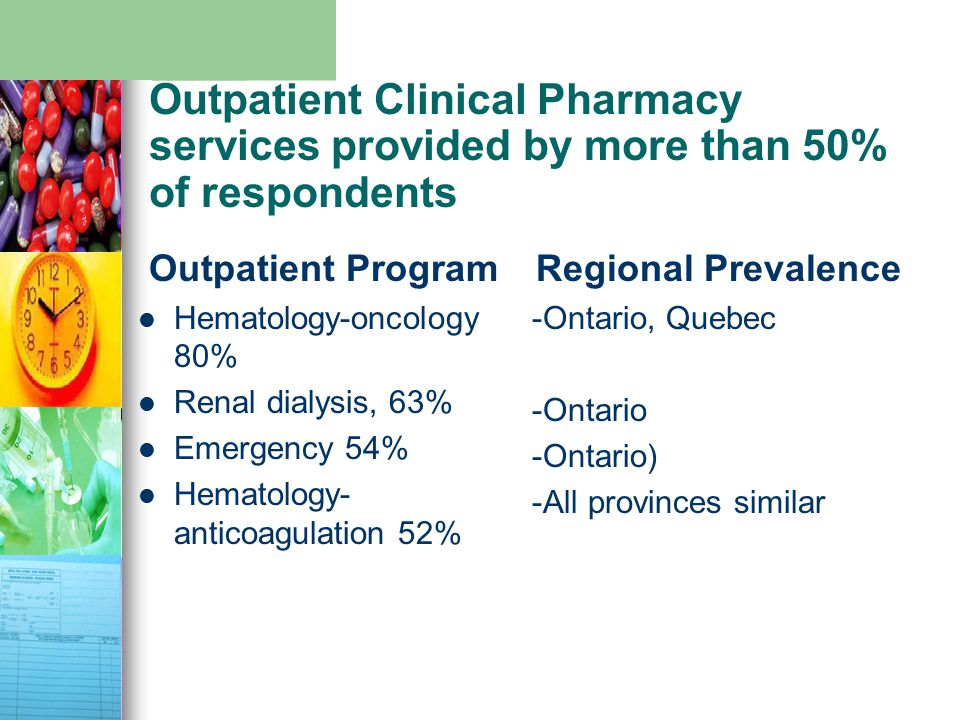 Outpatient Clinical Pharmacy services provided by more than 50% of respondents Outpatient Program Hematology-oncology 80% Renal dialysis, 63% Emergenc