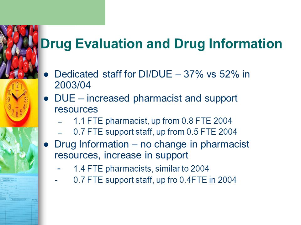 Drug Evaluation and Drug Information Dedicated staff for DI/DUE – 37% vs 52% in 2003/04 DUE – increased pharmacist and support resources – 1.1 FTE pharmacist, up from 0.8 FTE 2004 – 0.7 FTE support staff, up from 0.5 FTE 2004 Drug Information – no change in pharmacist resources, increase in support - 1.4 FTE pharmacists, similar to 2004 - 0.7 FTE support staff, up fro 0.4FTE in 2004