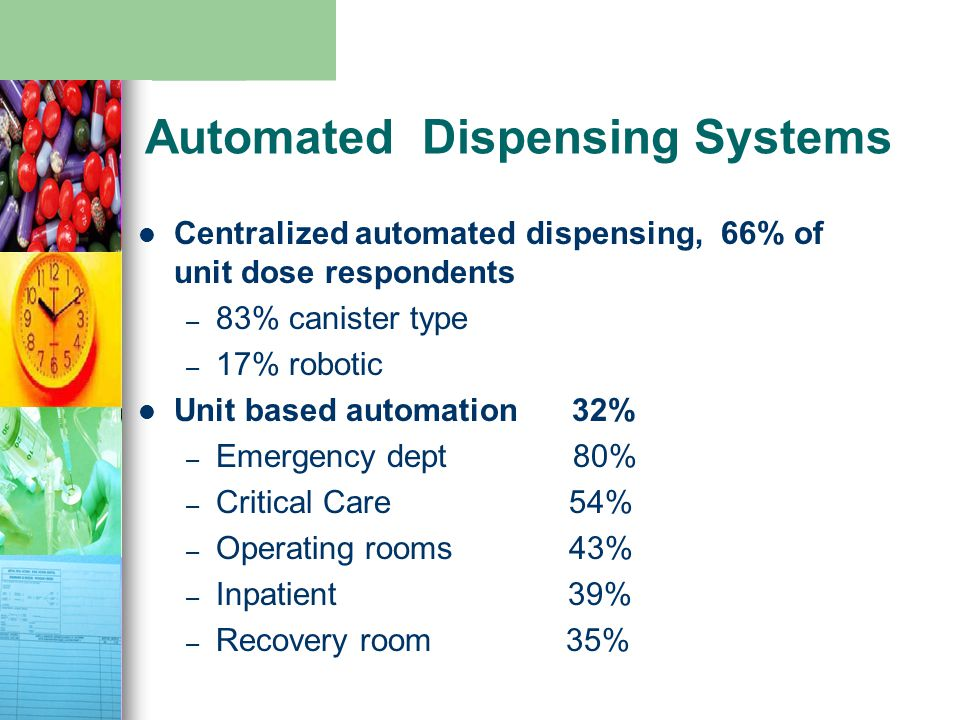 Automated Dispensing Systems Centralized automated dispensing, 66% of unit dose respondents – 83% canister type – 17% robotic Unit based automation 32% – Emergency dept 80% – Critical Care 54% – Operating rooms 43% – Inpatient 39% – Recovery room 35%