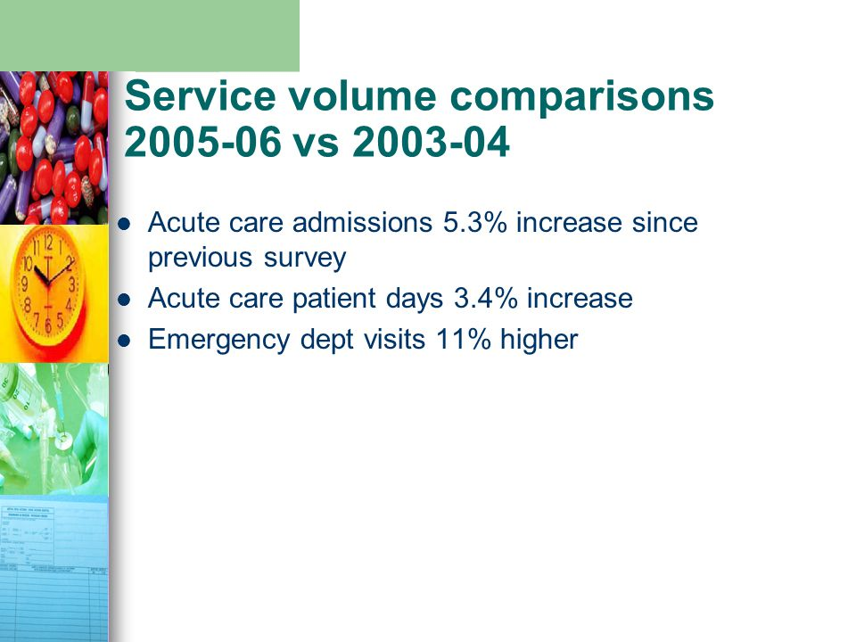 Service volume comparisons 2005-06 vs 2003-04 Acute care admissions 5.3% increase since previous survey Acute care patient days 3.4% increase Emergenc