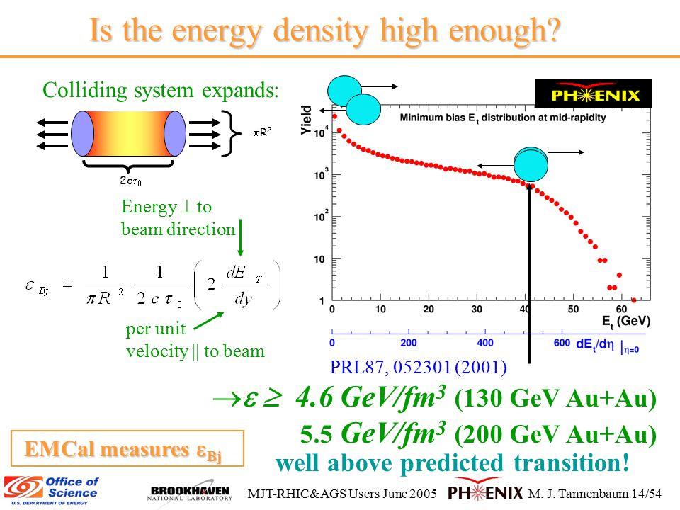 MJT-RHIC&AGS Users June 2005M. J. Tannenbaum 14/54 Is the energy density high enough.