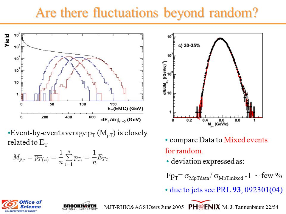 MJT-RHIC&AGS Users June 2005M. J. Tannenbaum 22/54 Are there fluctuations beyond random.