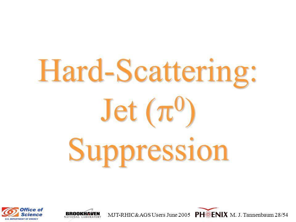 MJT-RHIC&AGS Users June 2005M. J. Tannenbaum 28/54 Hard-Scattering: Jet (  0 ) Suppression