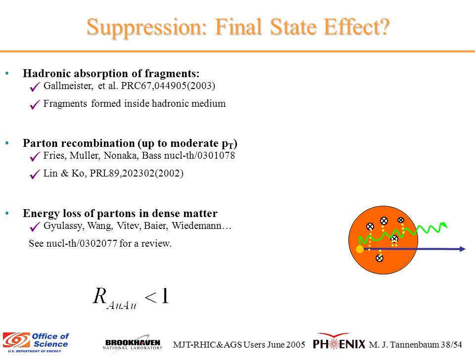 MJT-RHIC&AGS Users June 2005M. J. Tannenbaum 38/54 Suppression: Final State Effect.