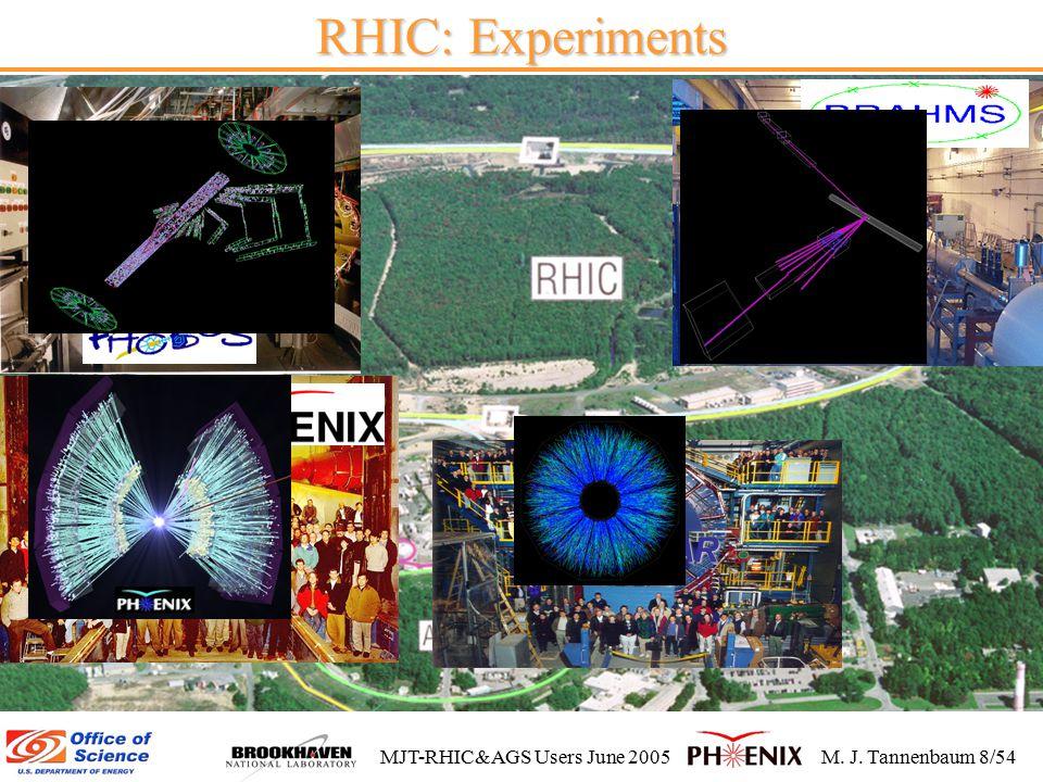 MJT-RHIC&AGS Users June 2005M. J. Tannenbaum 8/54 RHIC: Experiments STAR