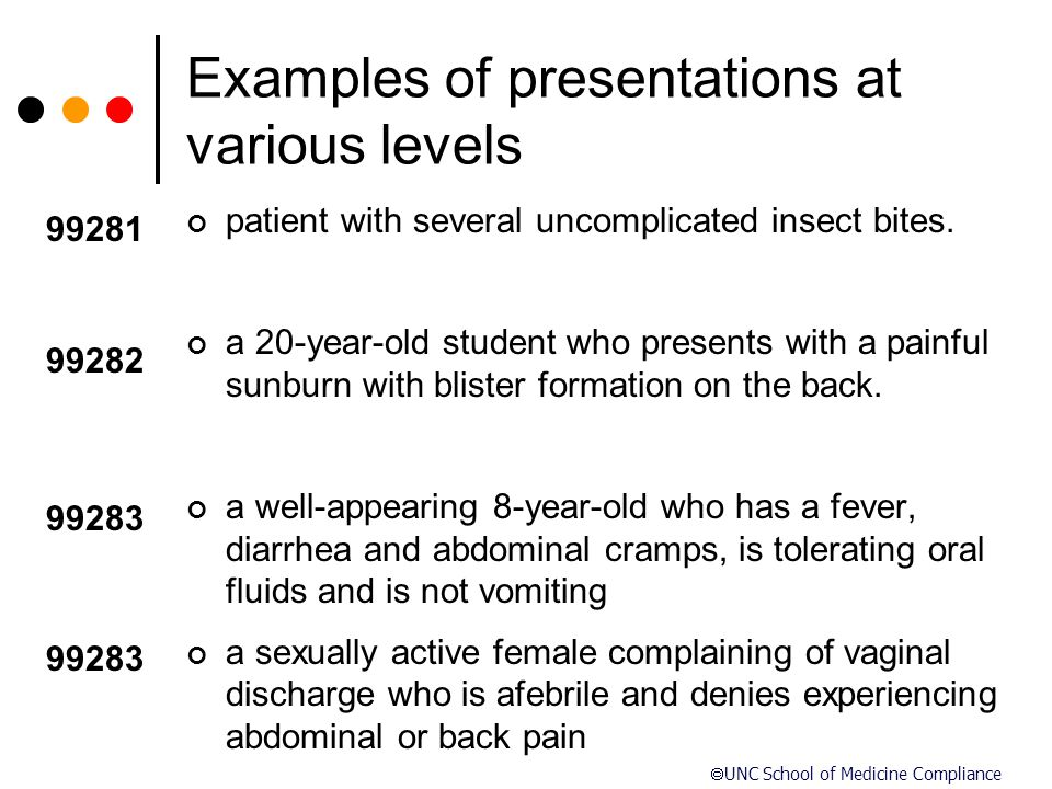  UNC School of Medicine Compliance Examples of presentations at various levels patient with several uncomplicated insect bites. a 20-year-old student