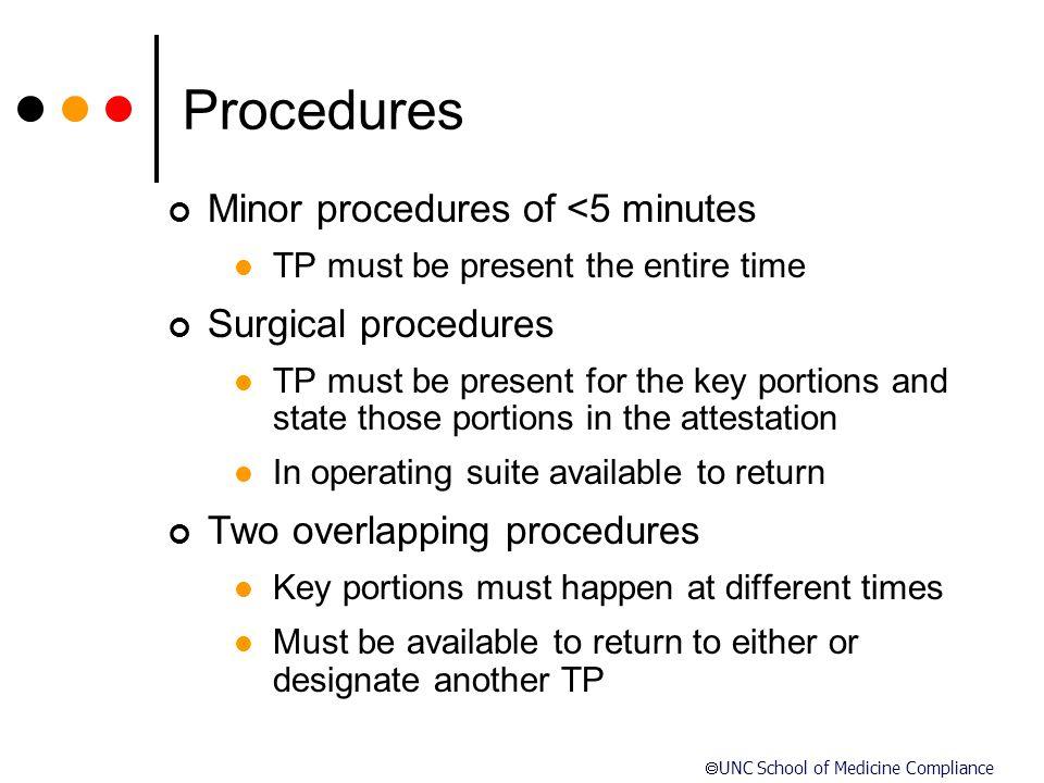  UNC School of Medicine Compliance Procedures Minor procedures of <5 minutes TP must be present the entire time Surgical procedures TP must be presen