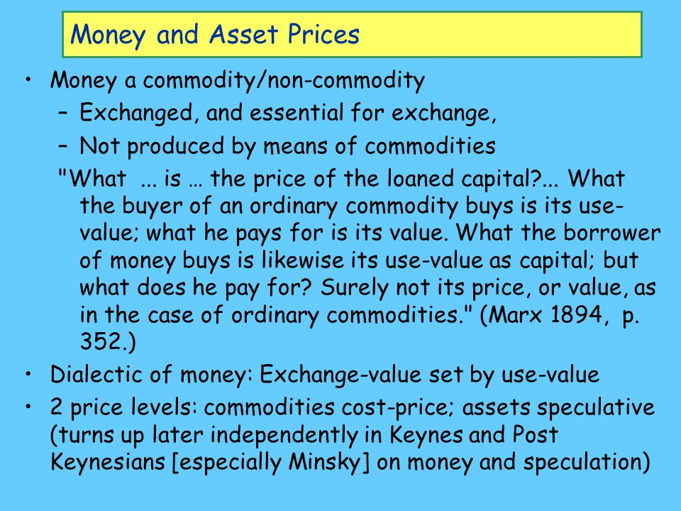Money and Asset Prices Money a commodity/non-commodity –Exchanged, and essential for exchange, –Not produced by means of commodities
