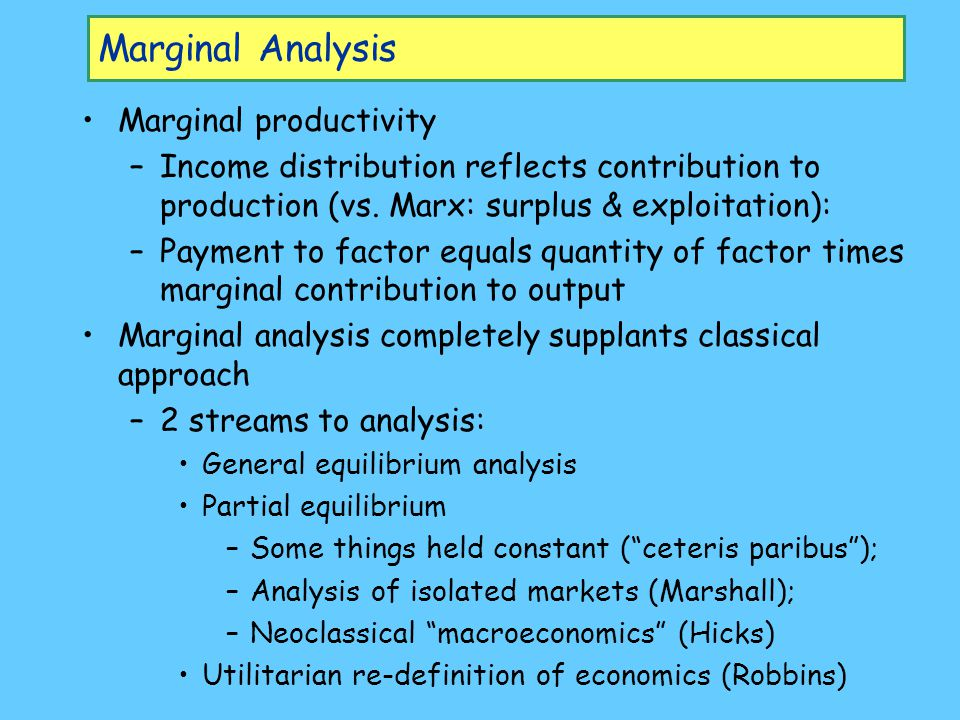 Marginal Analysis Marginal productivity –Income distribution reflects contribution to production (vs. Marx: surplus & exploitation): –Payment to facto