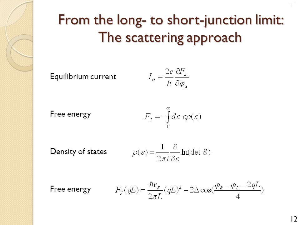 From the long- to short-junction limit: The scattering approach Equilibrium current Free energy Density of states Free energy 12