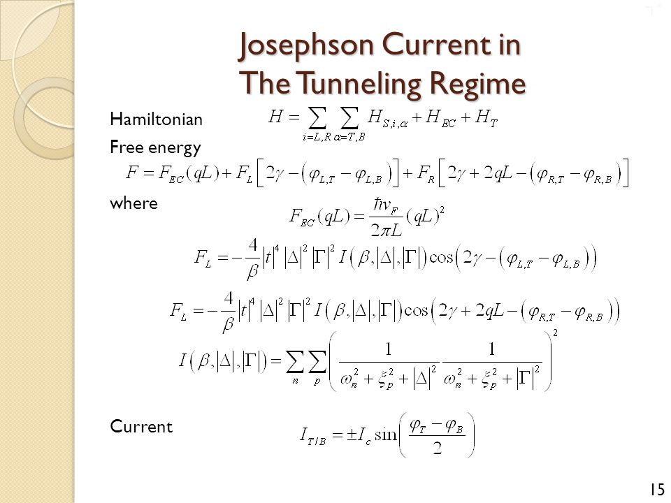 Josephson Current in The Tunneling Regime Hamiltonian Free energy where Current 15