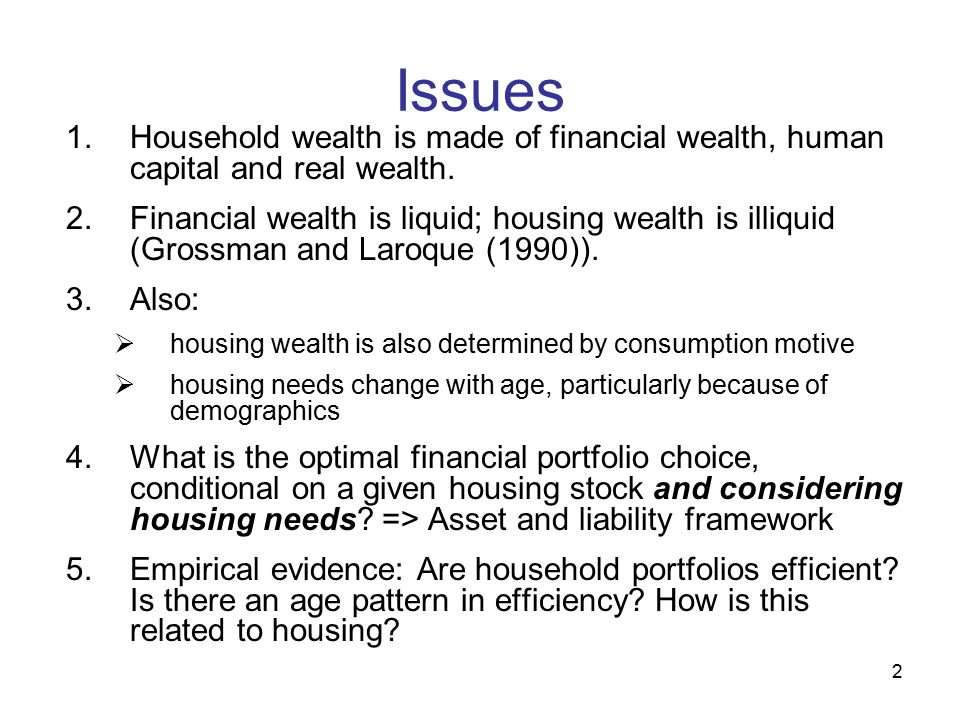 13 Econometric Issues Theoretical results => test for efficiency must be run conditionally upon net housing wealth Gourieroux and Jouneaux (1999) extend Jobson-Korkie (1982) efficiency tests to conditional case.