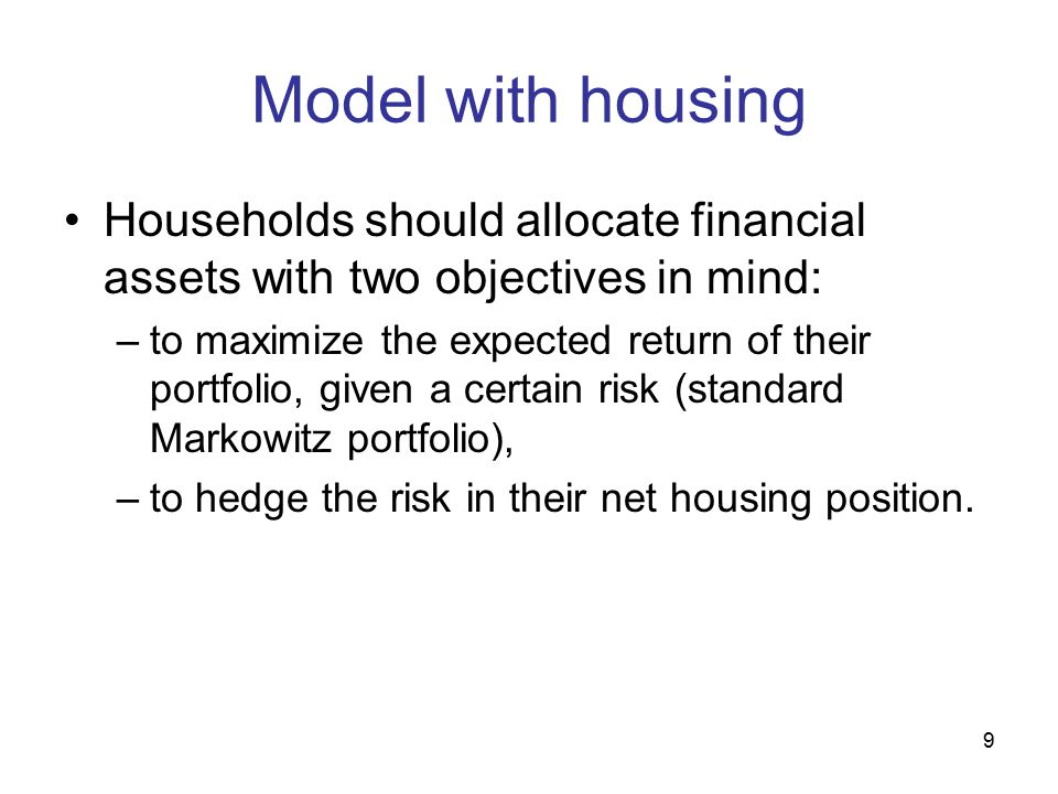 10 Dynamic Model: key equations Consumers maximize: Where: –C is non-durable consumption, –h are housing services (given.