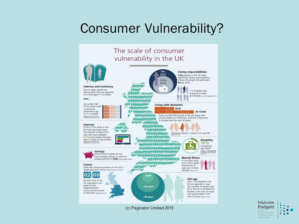 Consumer Vulnerability (c) Paginator Limited 2015