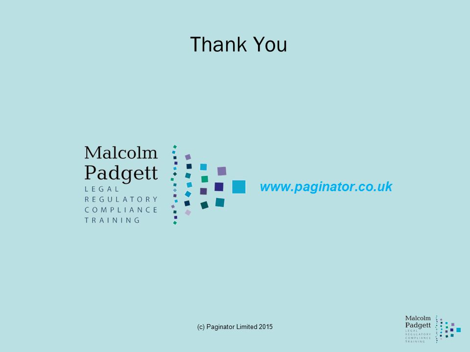 Thank You www.paginator.co.uk (c) Paginator Limited 2015