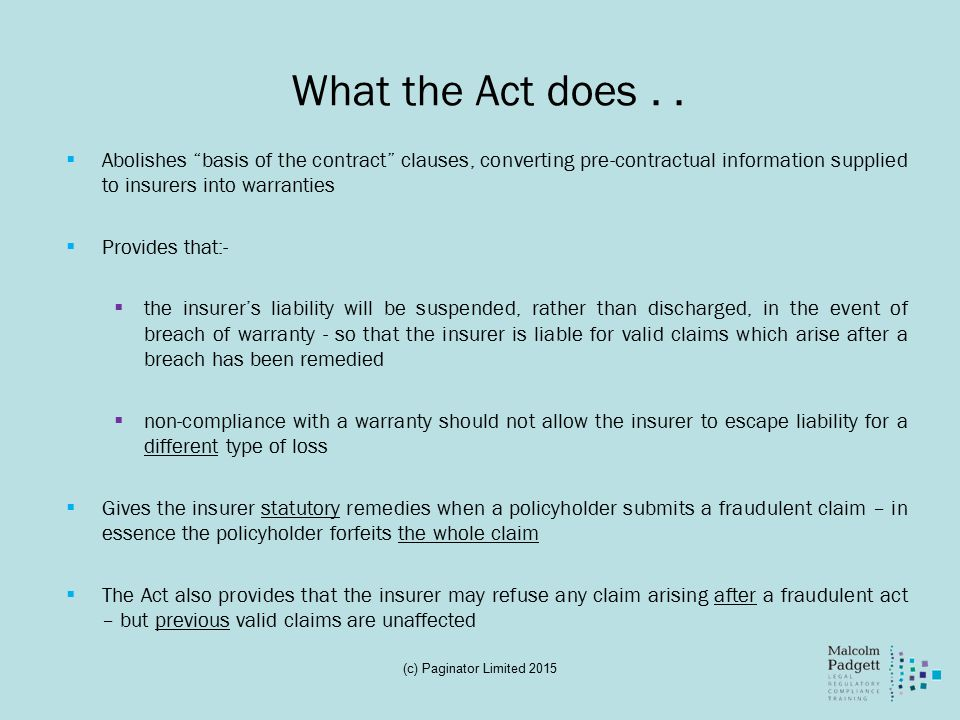 What the Act does..