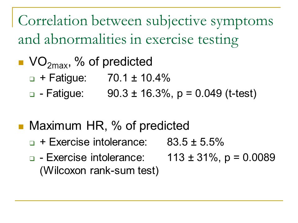 Correlation between subjective symptoms and abnormalities in exercise testing VO 2max, % of predicted  + Fatigue:70.1 ± 10.4%  - Fatigue:90.3 ± 16.3%, p = 0.049 (t-test) Maximum HR, % of predicted  + Exercise intolerance:83.5 ± 5.5%  - Exercise intolerance:113 ± 31%, p = 0.0089 (Wilcoxon rank-sum test)