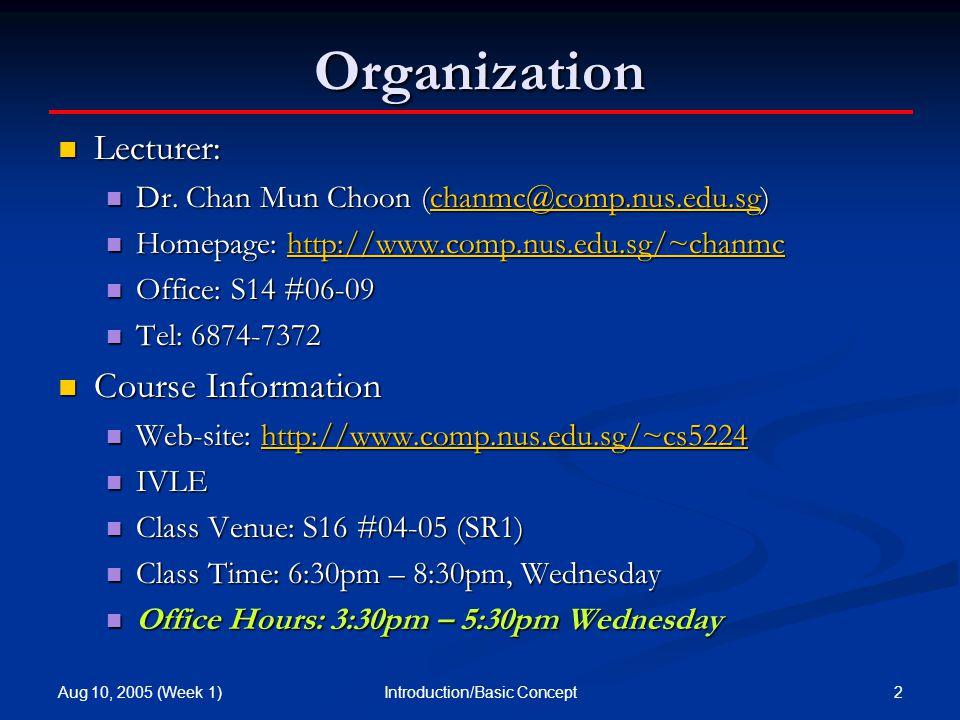 Aug 10, 2005 (Week 1) 2Introduction/Basic Concept Organization Lecturer: Lecturer: Dr.