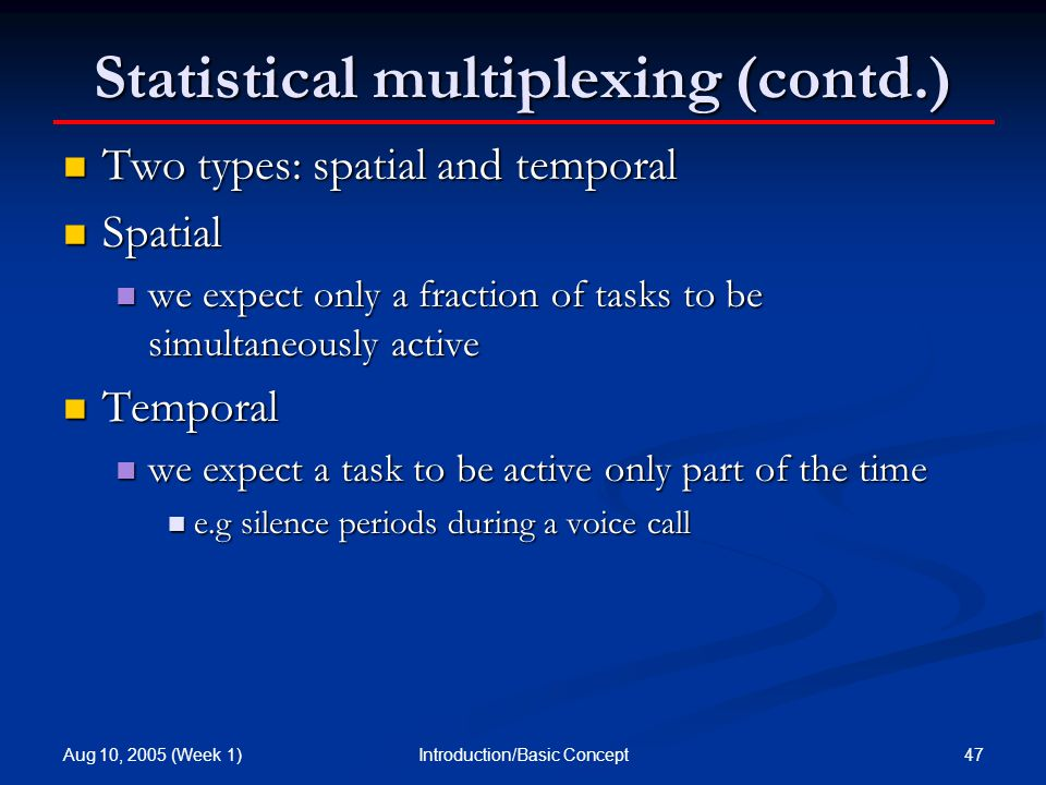 Aug 10, 2005 (Week 1) 47Introduction/Basic Concept Statistical multiplexing (contd.) Two types: spatial and temporal Two types: spatial and temporal Spatial Spatial we expect only a fraction of tasks to be simultaneously active we expect only a fraction of tasks to be simultaneously active Temporal Temporal we expect a task to be active only part of the time we expect a task to be active only part of the time e.g silence periods during a voice call e.g silence periods during a voice call