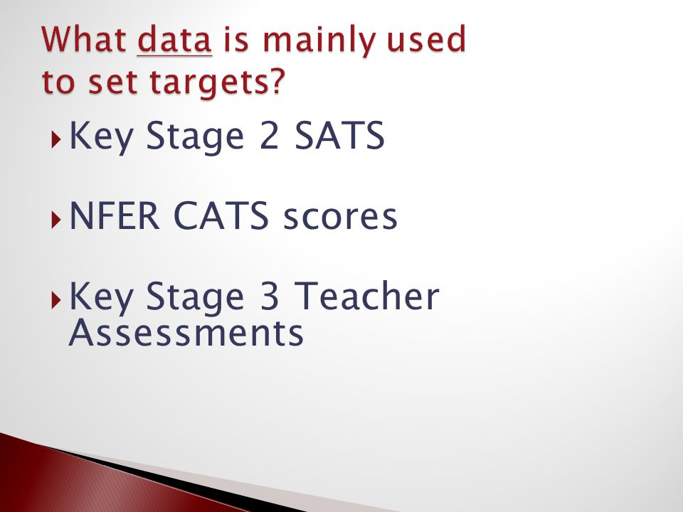  Key Stage 2 SATS  NFER CATS scores  Key Stage 3 Teacher Assessments