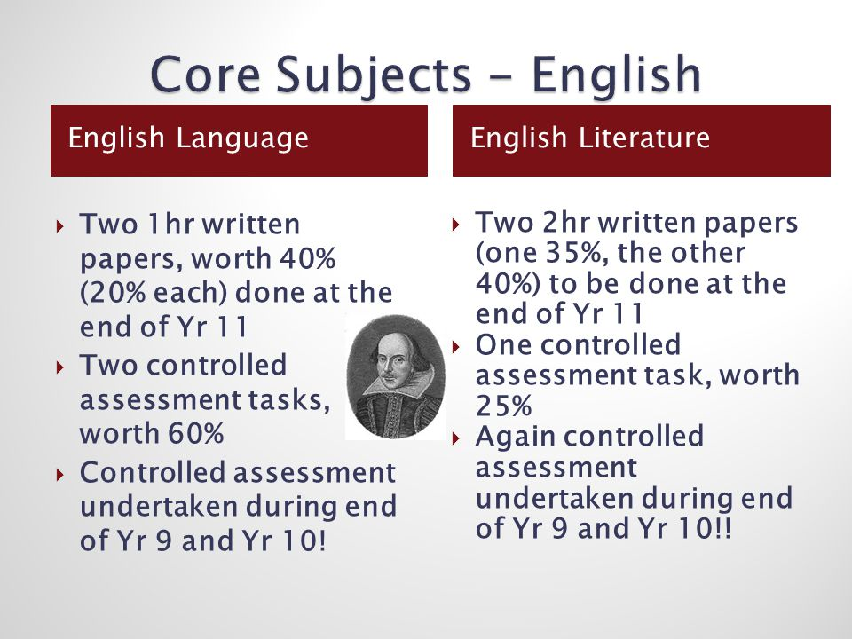 English LanguageEnglish Literature  Two 1hr written papers, worth 40% (20% each) done at the end of Yr 11  Two controlled assessment tasks, worth 60%  Controlled assessment undertaken during end of Yr 9 and Yr 10.
