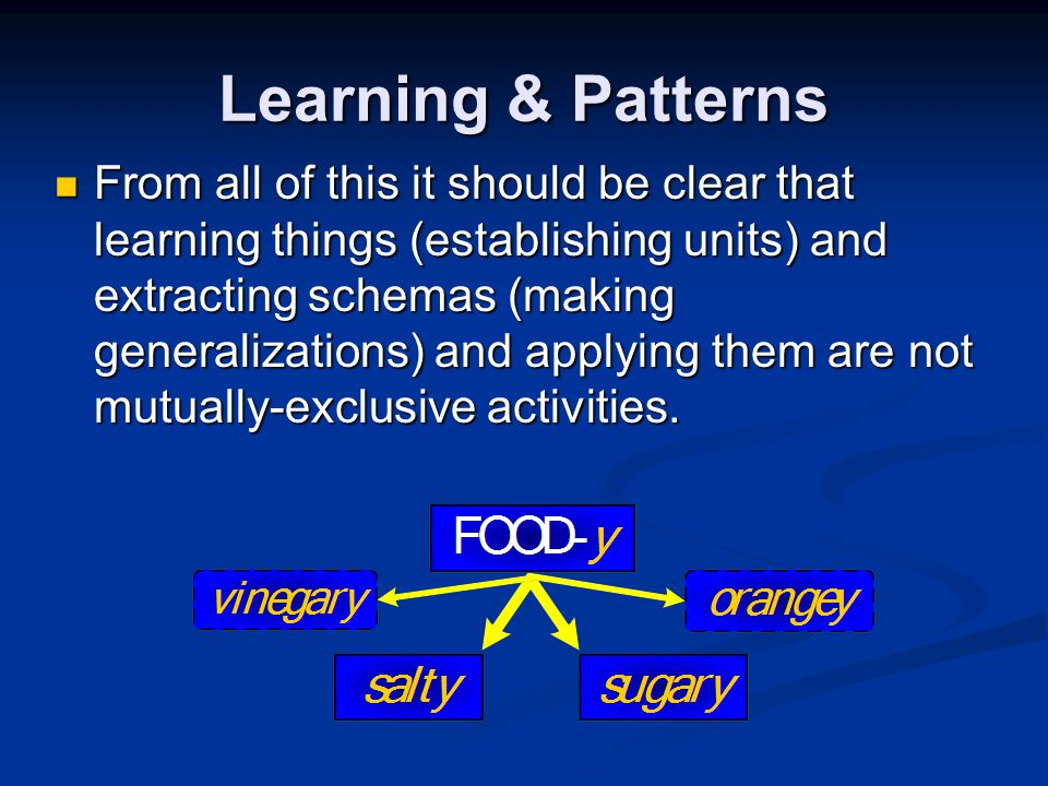 Learning & Patterns From all of this it should be clear that learning things (establishing units) and extracting schemas (making generalizations) and