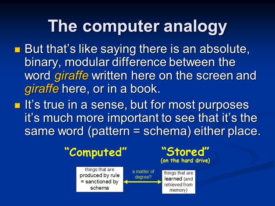 The computer analogy But that's like saying there is an absolute, binary, modular difference between the word giraffe written here on the screen and g