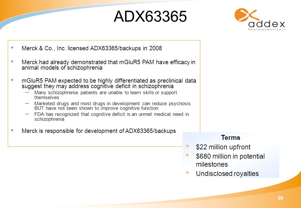 20 ADX63365 Merck & Co., Inc.
