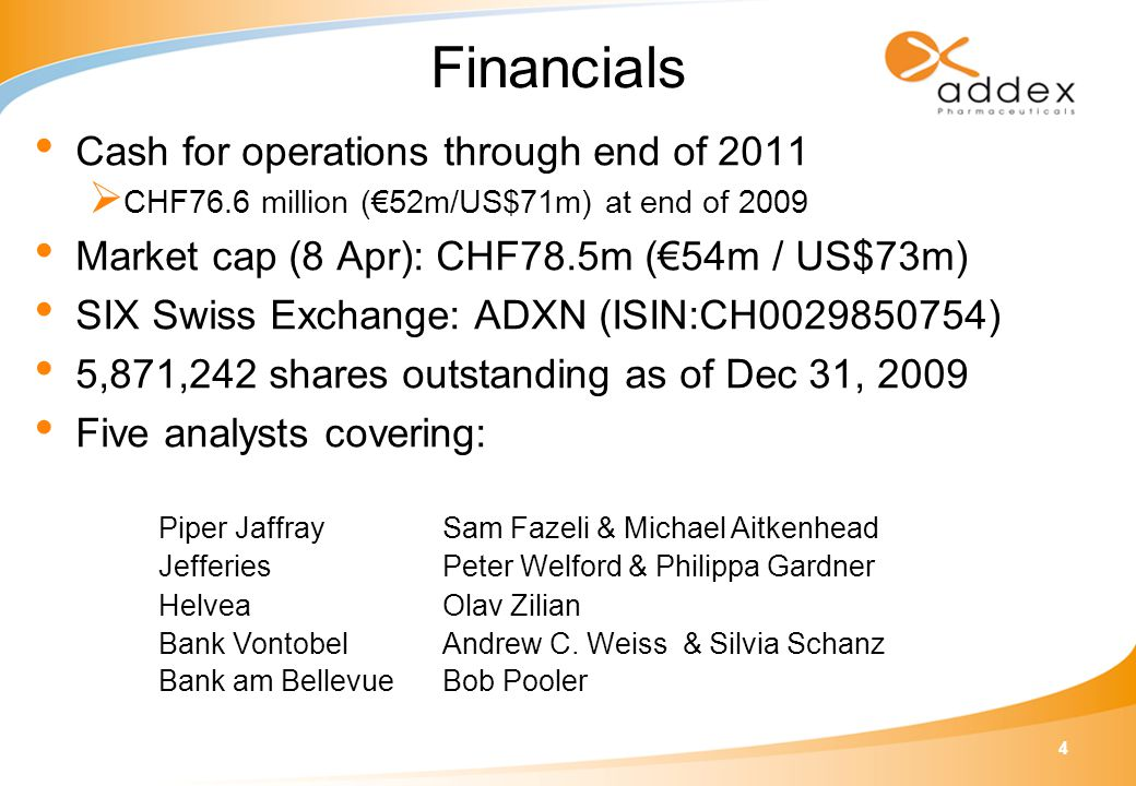 4 Financials Cash for operations through end of 2011  CHF76.6 million (€52m/US$71m) at end of 2009 Market cap (8 Apr): CHF78.5m (€54m / US$73m) SIX Swiss Exchange: ADXN (ISIN:CH0029850754) 5,871,242 shares outstanding as of Dec 31, 2009 Five analysts covering: Piper JaffraySam Fazeli & Michael Aitkenhead JefferiesPeter Welford & Philippa Gardner HelveaOlav Zilian Bank VontobelAndrew C.