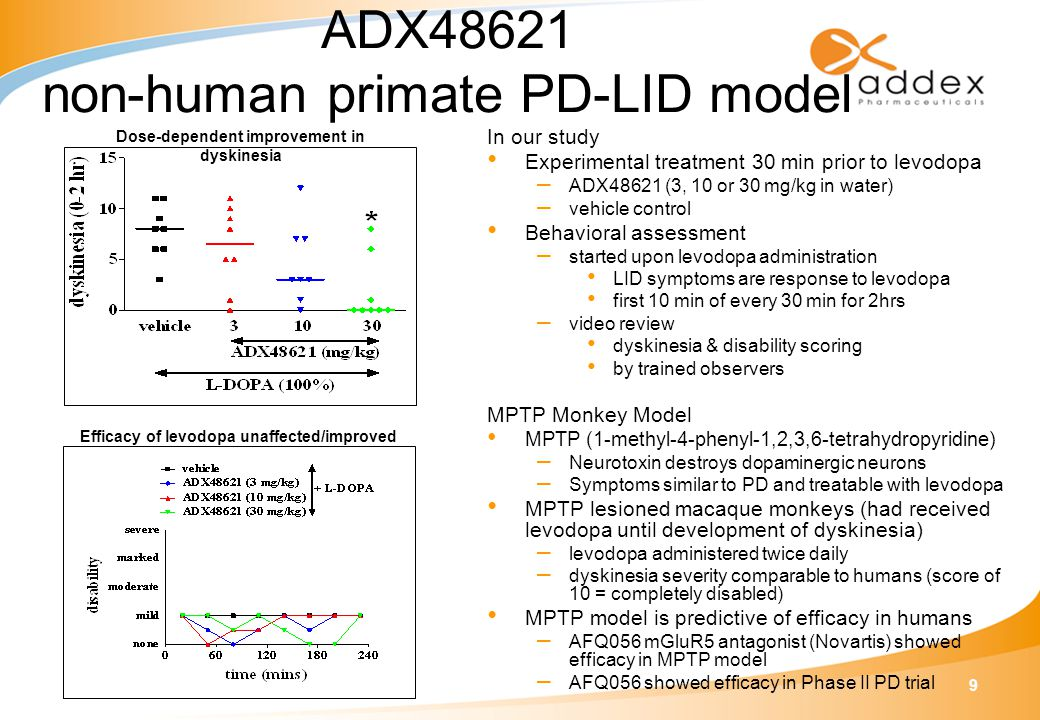 9 ADX48621 non-human primate PD-LID model In our study Experimental treatment 30 min prior to levodopa – ADX48621 (3, 10 or 30 mg/kg in water) – vehicle control Behavioral assessment – started upon levodopa administration LID symptoms are response to levodopa first 10 min of every 30 min for 2hrs – video review dyskinesia & disability scoring by trained observers MPTP Monkey Model MPTP (1-methyl-4-phenyl-1,2,3,6-tetrahydropyridine) – Neurotoxin destroys dopaminergic neurons – Symptoms similar to PD and treatable with levodopa MPTP lesioned macaque monkeys (had received levodopa until development of dyskinesia) – levodopa administered twice daily – dyskinesia severity comparable to humans (score of 10 = completely disabled) MPTP model is predictive of efficacy in humans – AFQ056 mGluR5 antagonist (Novartis) showed efficacy in MPTP model – AFQ056 showed efficacy in Phase II PD trial Dose-dependent improvement in dyskinesia Efficacy of levodopa unaffected/improved