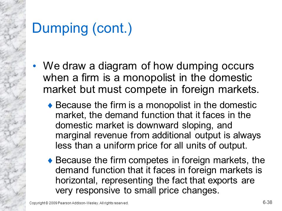 Copyright © 2009 Pearson Addison-Wesley. All rights reserved. 6-38 Dumping (cont.) We draw a diagram of how dumping occurs when a firm is a monopolist