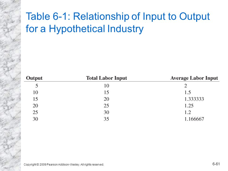 Copyright © 2009 Pearson Addison-Wesley. All rights reserved. 6-61 Table 6-1: Relationship of Input to Output for a Hypothetical Industry