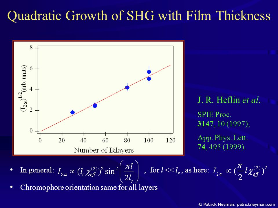 In general:, for l << l c, as here: Chromophore orientation same for all layers Quadratic Growth of SHG with Film Thickness J.
