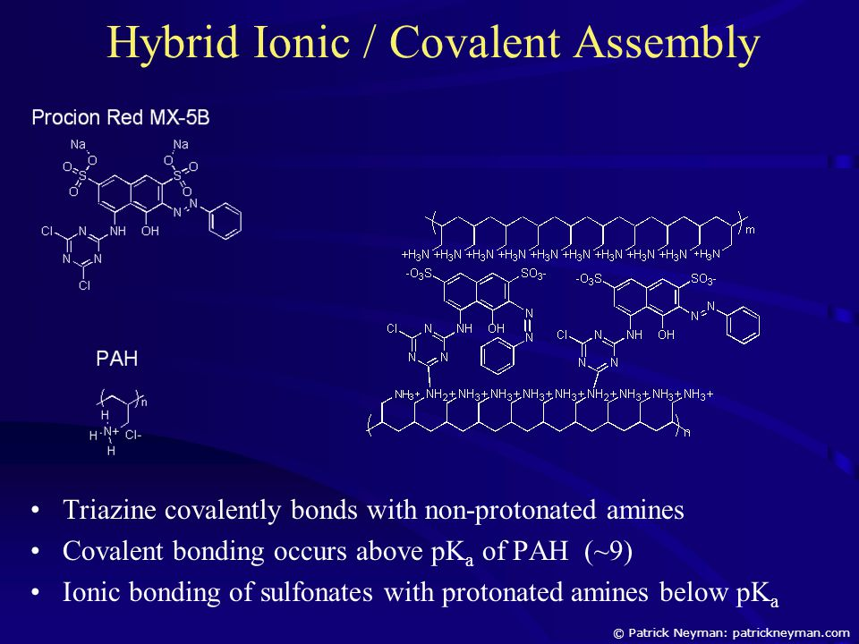 Hybrid Ionic / Covalent Assembly Triazine covalently bonds with non-protonated amines Covalent bonding occurs above pK a of PAH (~9) Ionic bonding of