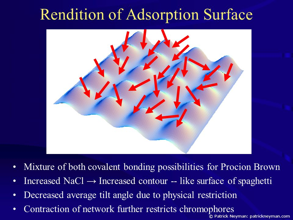 Rendition of Adsorption Surface Mixture of both covalent bonding possibilities for Procion Brown Increased NaCl → Increased contour -- like surface of