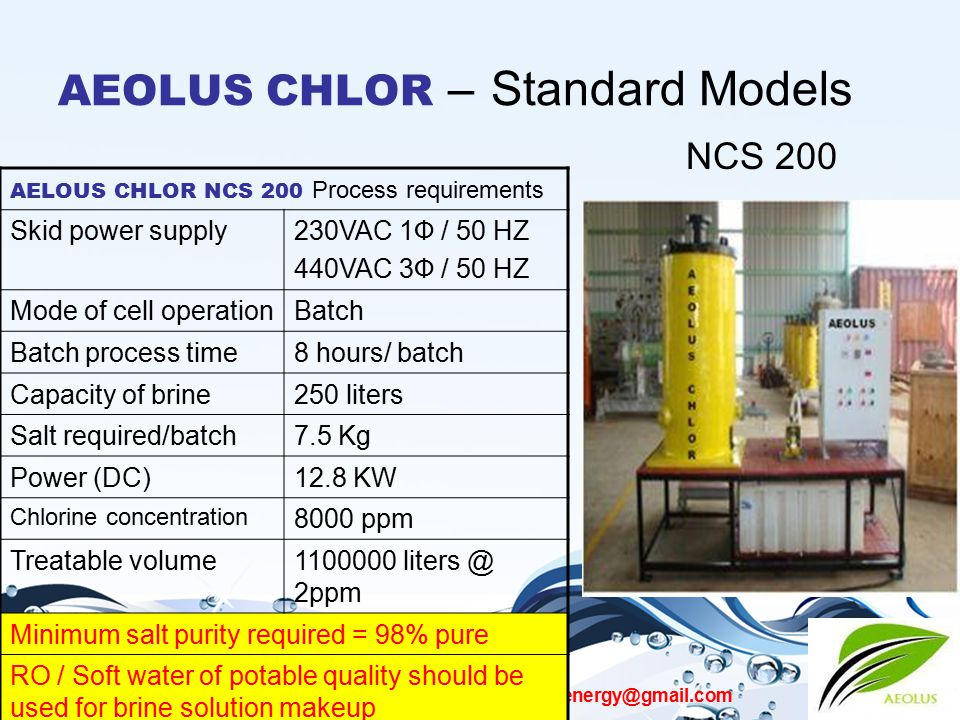 AEOLUS CHLOR aeolus.bioenergy@gmail.com AEOLUS CHLOR – Standard Models NCS 200 AELOUS CHLOR NCS 200 Process requirements Skid power supply230VAC 1Ф /